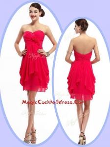 Beautiful Mini Length Sweetheart Cocktail Dresses with Hand Made Flowers and Ruching