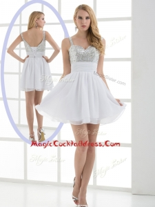 Fashionable Straps Sequins Short Cocktail Dress for Graduation