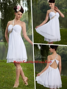 Inexpensive One Shoulder Criss Cross Beading White Cocktail Dress