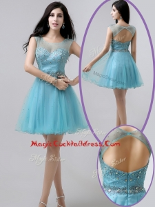 New Arrivals Short Open Back Beading Cocktail Dresses in Aqua Blue