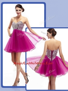 Perfect Sweetheart Fuchsia Short Cocktail Dresses with Beading