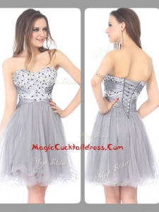 Perfect Sweetheart Lace Up Short Grey Cocktail Dress with Beading