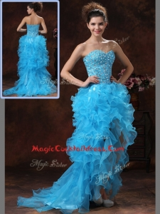 Pretty Beading Baby Blue Side Zipper High Low Cocktail Dresses for 2016