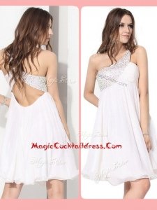 Pretty Short One Shoulder Beading Cocktail Dress in White