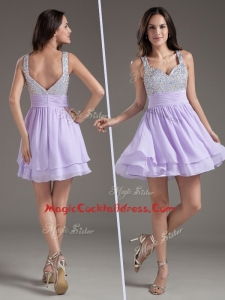 Simple Straps Mini Length Lavender Cocktail Dress with Beading