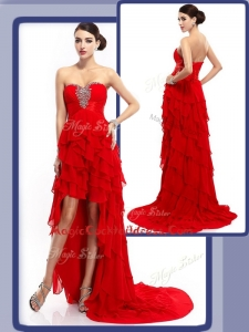 Cheap High Low Beading and Ruffled Layers Cocktail Dresses in Red