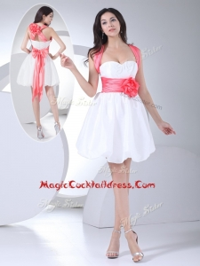 Cheap Straps Hand Made Flowers Short Cocktail Dress in White