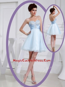 Discount Short Sweetheart Beading Cocktail Dress in Light Blue