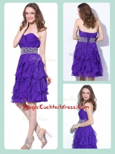 Fashionable Sweetheart Knee Length Cocktail Dresses with Ruffles