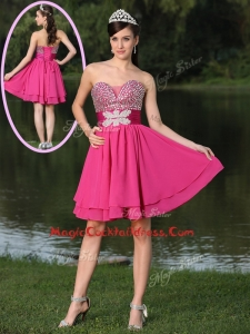 Inexpensive Short Sweetheart Beading Cocktail Dresses in Hot Pink