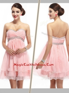 Lovely Sweetheart Short Cocktail Dress with Beading and Ruching