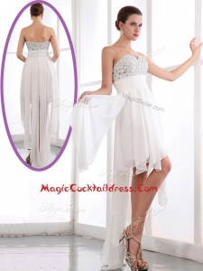 Most Popular Sweetheart High Low Beading Cocktail Dress in White