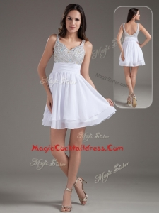 Perfect Short Straps Beading White Cocktail Dresses for 2016