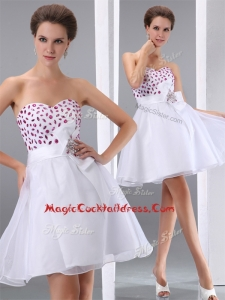 Popular Sweetheart White Short Cocktail Dresses with Beading