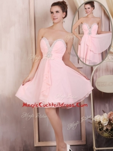 Simple Sweetheart Mini Length Beading Cocktail Dresses in Baby Pink