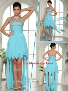 Wonderful Sweetheart High Low Beading and Paillette Cocktail Dress in Aqua Blue