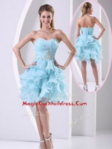 Beautiful Sweetheart Light Blue Cocktail Dress with Beading and Ruffles