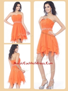 Cheap Sweetheart Beading and Ruching Short Cocktail Dresses in Orange