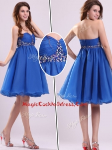 Classical Short Sweetheart Beading Cocktail Dress in Blue