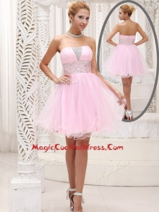 Exquisite Strapless Beading Short Cocktail Dress for Homecoming