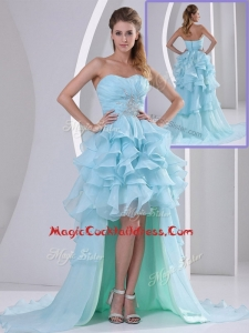 Exquisite Sweetheart High Low Beading and Ruffles Cocktail Dress