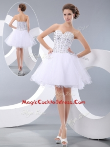 Fashionable White Short Cocktail Dresses with Beading for Cocktail