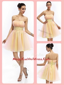 Lovely Short Strapless Lace Up Cocktail Dresses with Beading and Ruching