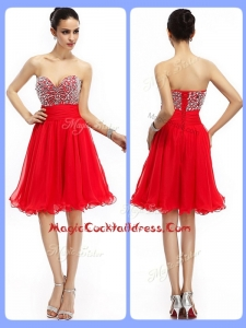 Lovely Short Sweetheart Beading Cocktail Dresses in Red
