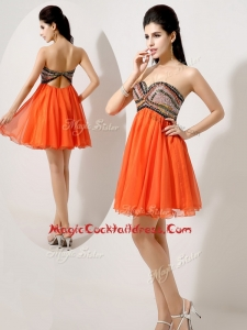 Low Price Short Orange Red Cocktail Dresses with Beading and Sequins