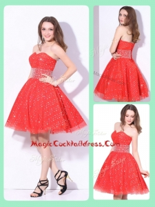 Luxurious Sweetheart Beading Cocktail Dress in Red for Fall