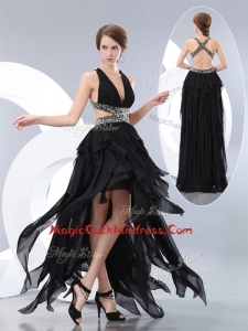 New Style V Neck High Low Cocktail Dresses in Black