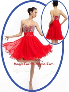 Perfect Sweetheart Red Short Cocktail Dresses with Beading