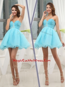 Pretty Sweetheart Beading Aqua Blue Short Cocktail Dresses