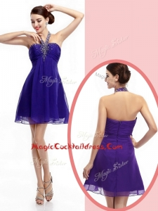 Simple Halter Top Purple Short Cocktail Dresses with Beading