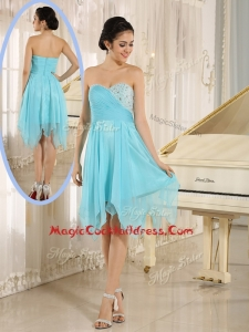 Cheap Asymmetrical Sweetheart Beading Short Cocktail Dresses