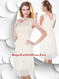 2016 Perfect Scoop Knee Length White Cocktail Dress with Lace