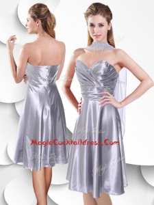 Best Empire Elastic Woven Satin Silver Cocktail Dress with Beading and Ruching