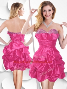 Fashionable Hot Pink Taffeta Cocktail Dress with Beading and Bubles