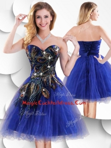Luxurious Short Peacock Blue Cocktail Dress with Beading and Appliques