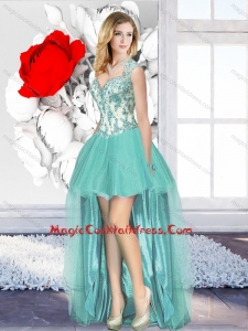 Aqua Blue High Low Cheap Cocktail Dresses with Appliques