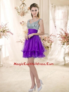 Best Straps Short Purple Cocktail Dresses with Sequins