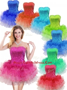 Colorful Strapless Short Cocktail Dress with Sequins and Ruffles