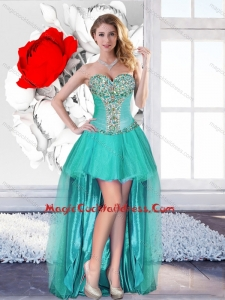 Exclusive Beaded Turquoise Prom Gowns with High Low