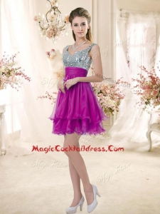 Hot Sale Straps Short Fuchsia Cocktail Dresses with Sequins