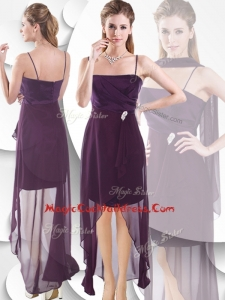 Latest Spaghetti Straps High Low Cocktail Dress in Burgundy