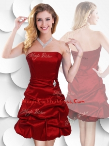 Latest Strapless Taffeta Wine Red Cocktail Dress with Bubles