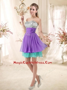 Low Price Sweetheart Short Cocktail Dresses with Sequins and Belt