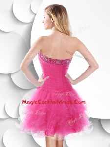 Luxurious Strapless Hot Pink Dress with Beading and Ruffles