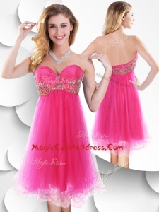 Pretty Sweetheart Hot Pink Short Cocktail Dress with Beading