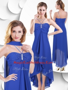 Simple Spaghetti Straps High Low Blue Cocktail Dress with Beading